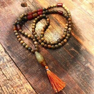 Hand Carved Jade 108 bead Yoga Mala Necklace
